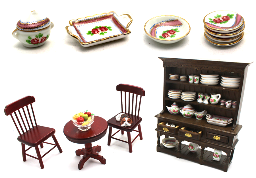 miniature porcelain, ceramics and china ware for dollhouse