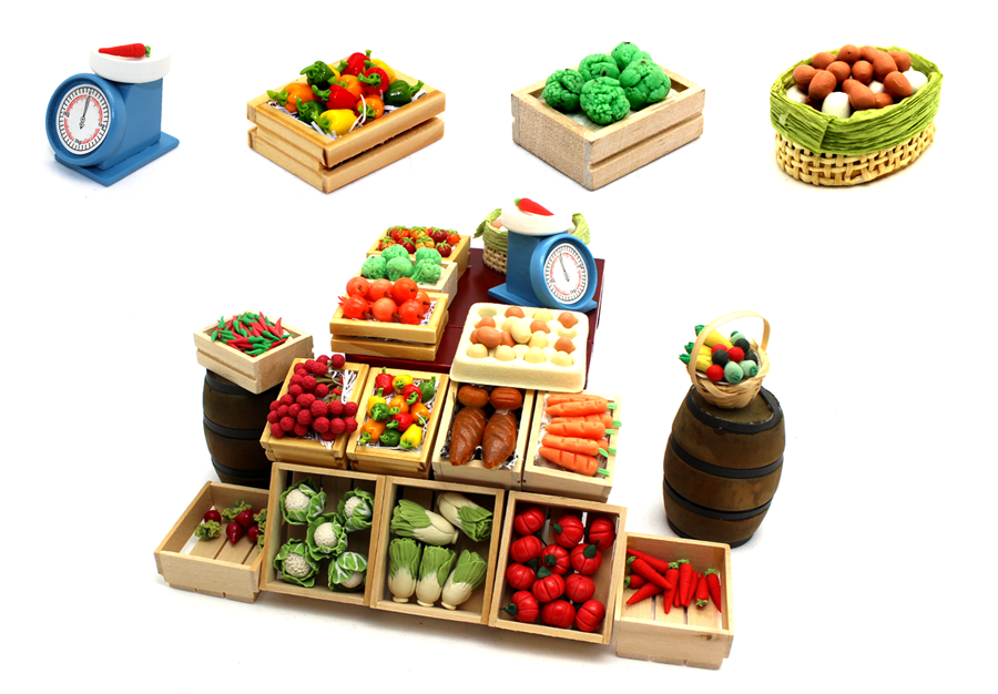 polymerclay made models of fruits and vegetables for your dollhouse decorating ideas